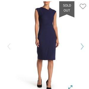 New Hugo boss dechesta navy midi sneath dress. 6